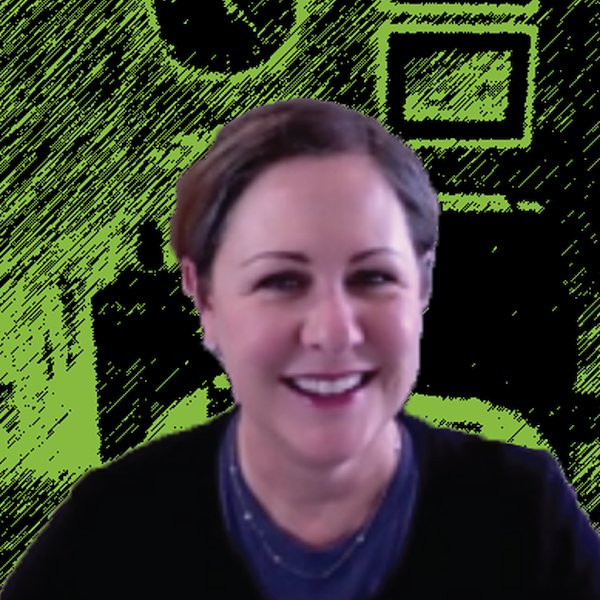 Photograph of Becky Adams with Green and Black background