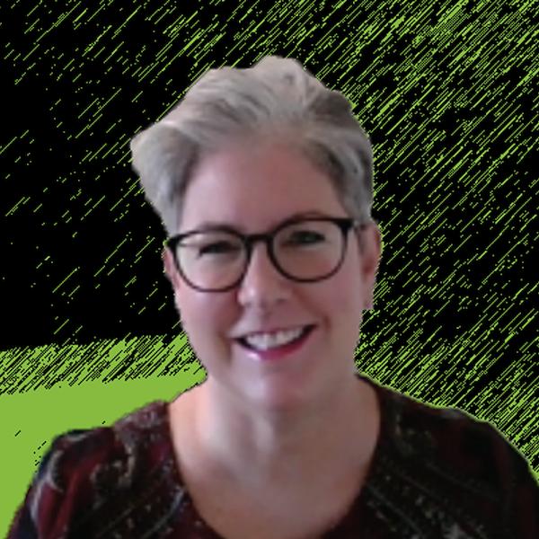 Photograph of Lori Osinga with Green and Black background