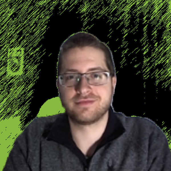 Photograph of Sawyer Adams with Green and Black background