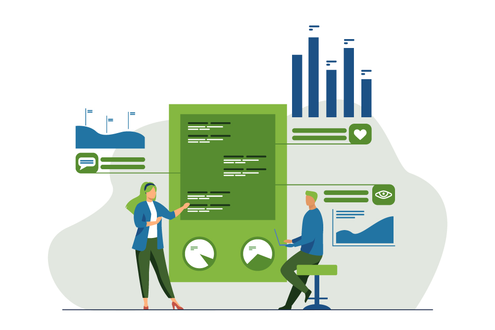 Illustration of two people working on oversized analytics reports