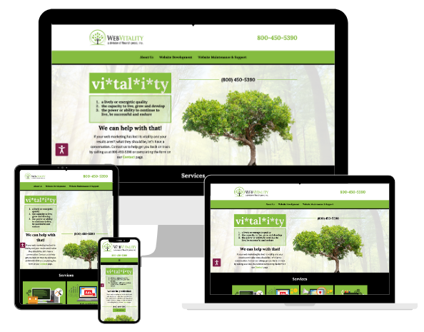 WebVitality website displayed on 4 different sized devices.