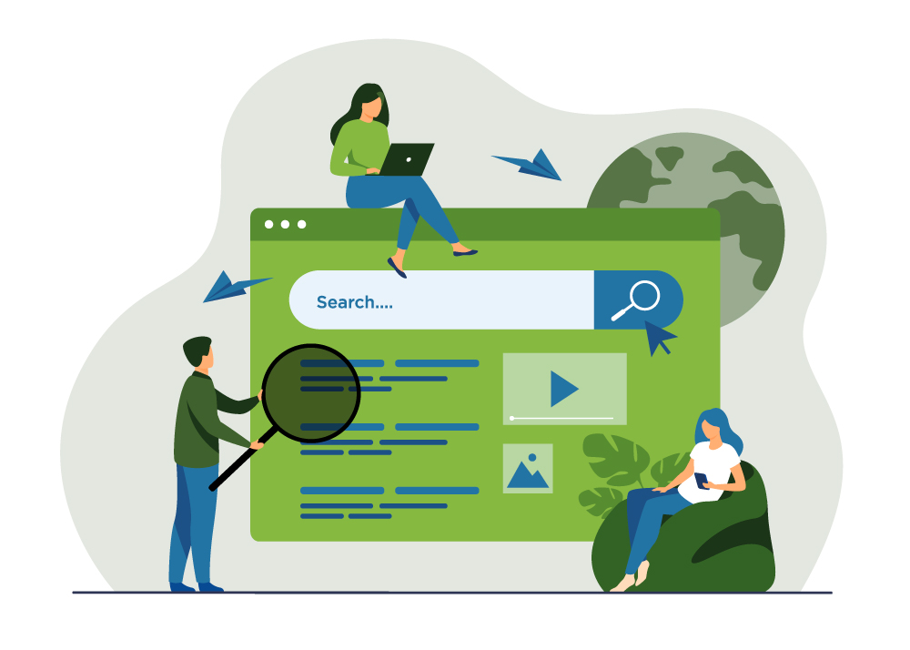 Illustration of people using an oversized search engine.